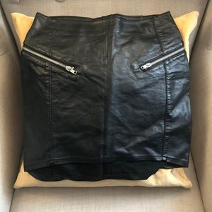 Faux leather mini skirt with zipper pockets